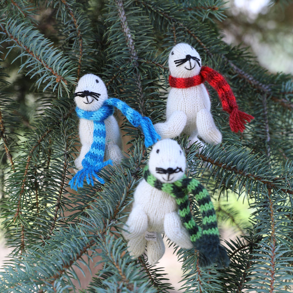 White Seal Knit Ornaments - set of 3