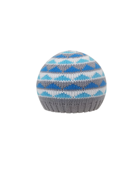 Blue Hat with Stripes and Triangles