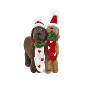 Dog with Stocking Ornament- set of 2