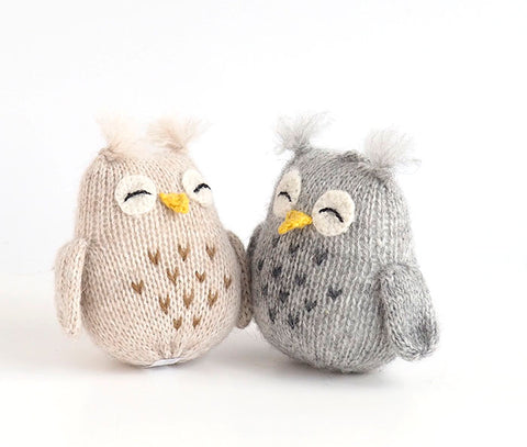 Owl with Tufts Ornament- set of 2