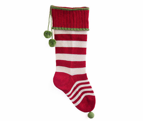 Candy Striped Rib-Cuff Stocking