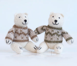Polar Bear in Sweater Ornament- set of 2
