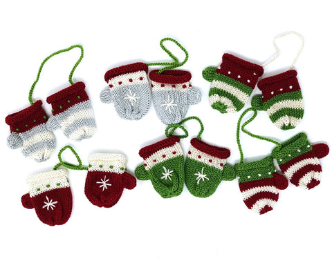 Pair of Mittens Ornaments- set of 6