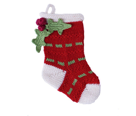 Mini Holly Stocking, Red