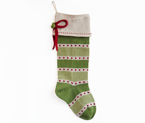 Green Stripe Stocking with Bow