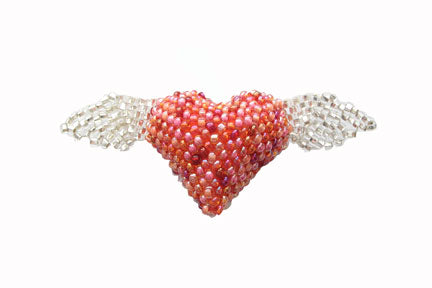 Heart with Wings Brooch - Pink