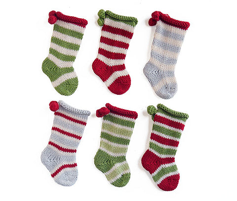 Tiny Stocking Ornaments- set of 6