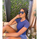 Sideekah wears the Light Yale Blue Whitney Short in Size XS