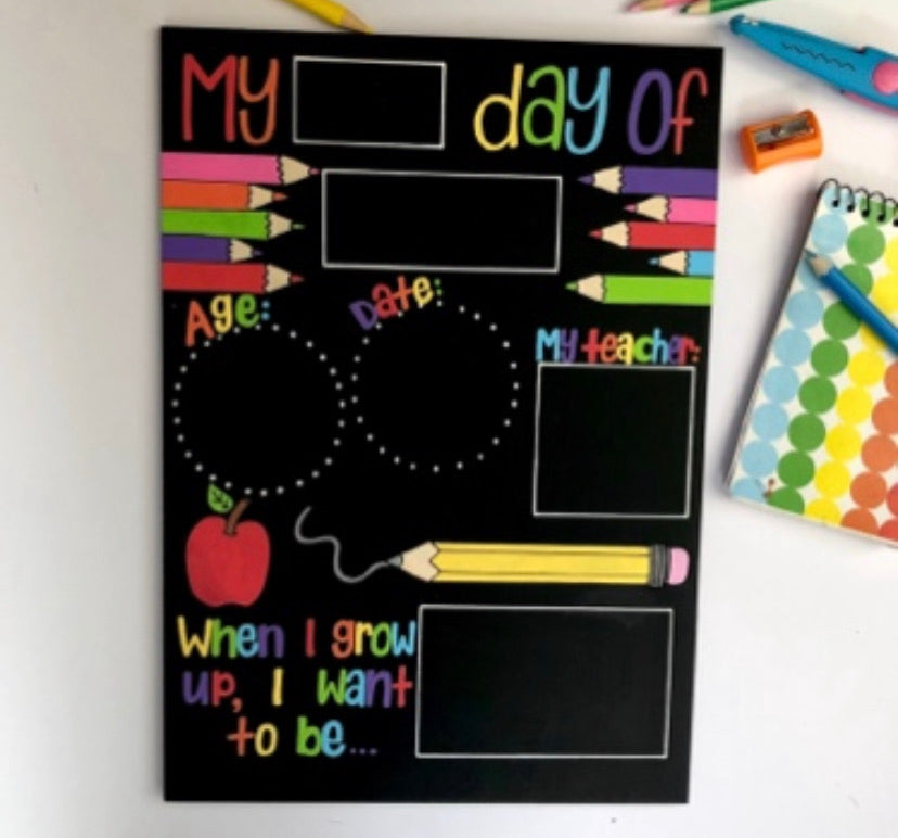 Starting School Hand Painted Chalkboard