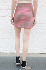 Pink Creme Black and Maroon Plaid / S