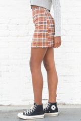 Burnt Orange with Black White and Burgundy Plaid / S