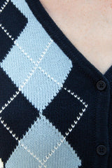 Blue and White Argyle / S