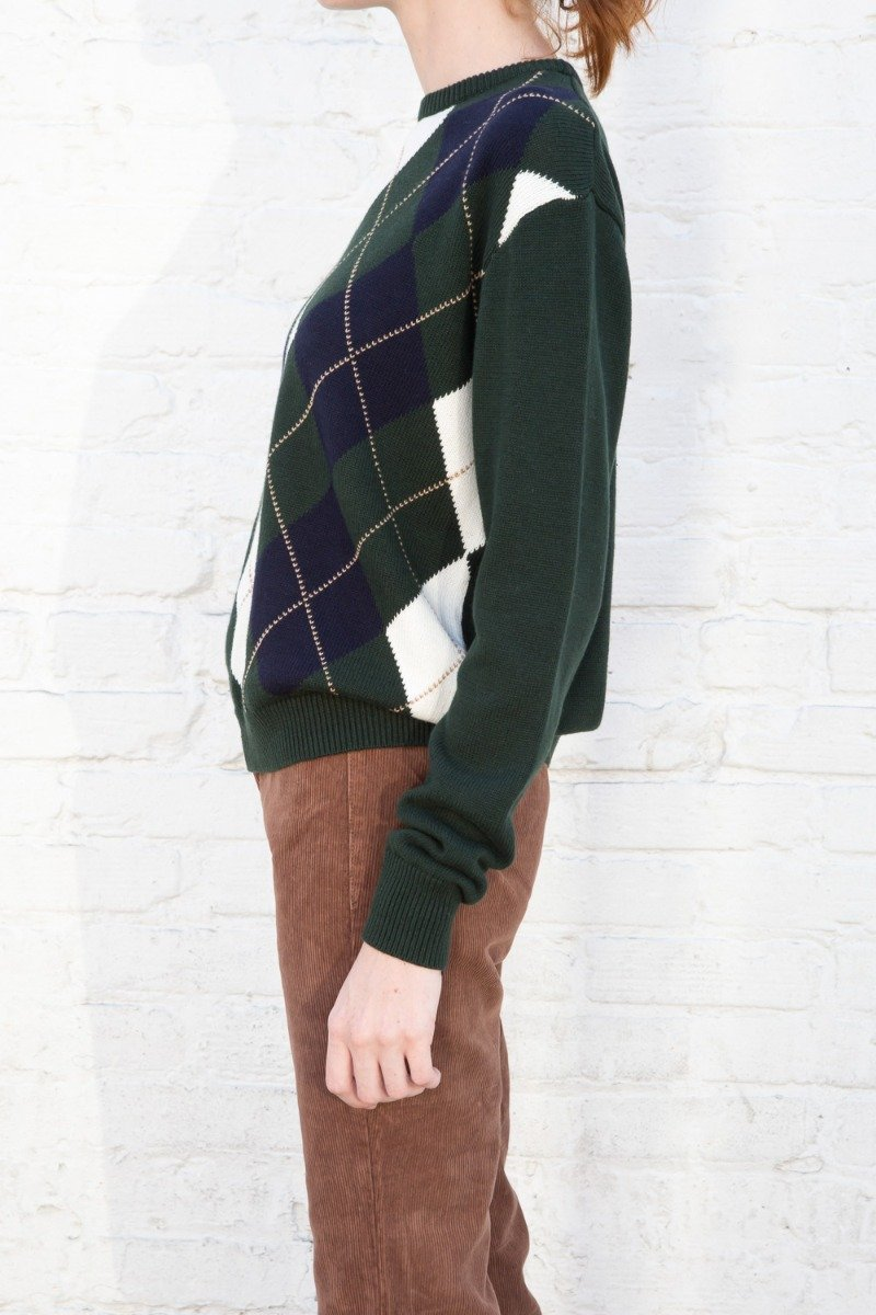 Dark Green and White Argyle / Regular Fit