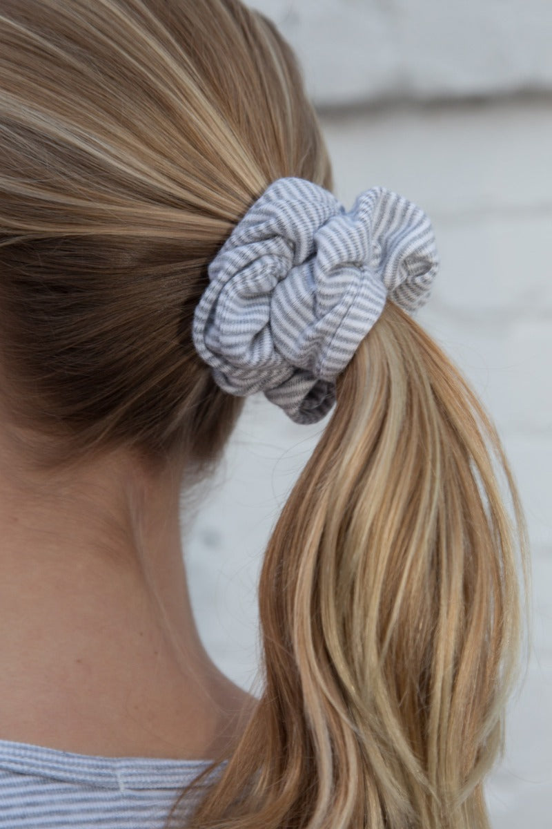 Heather grey and white stripes