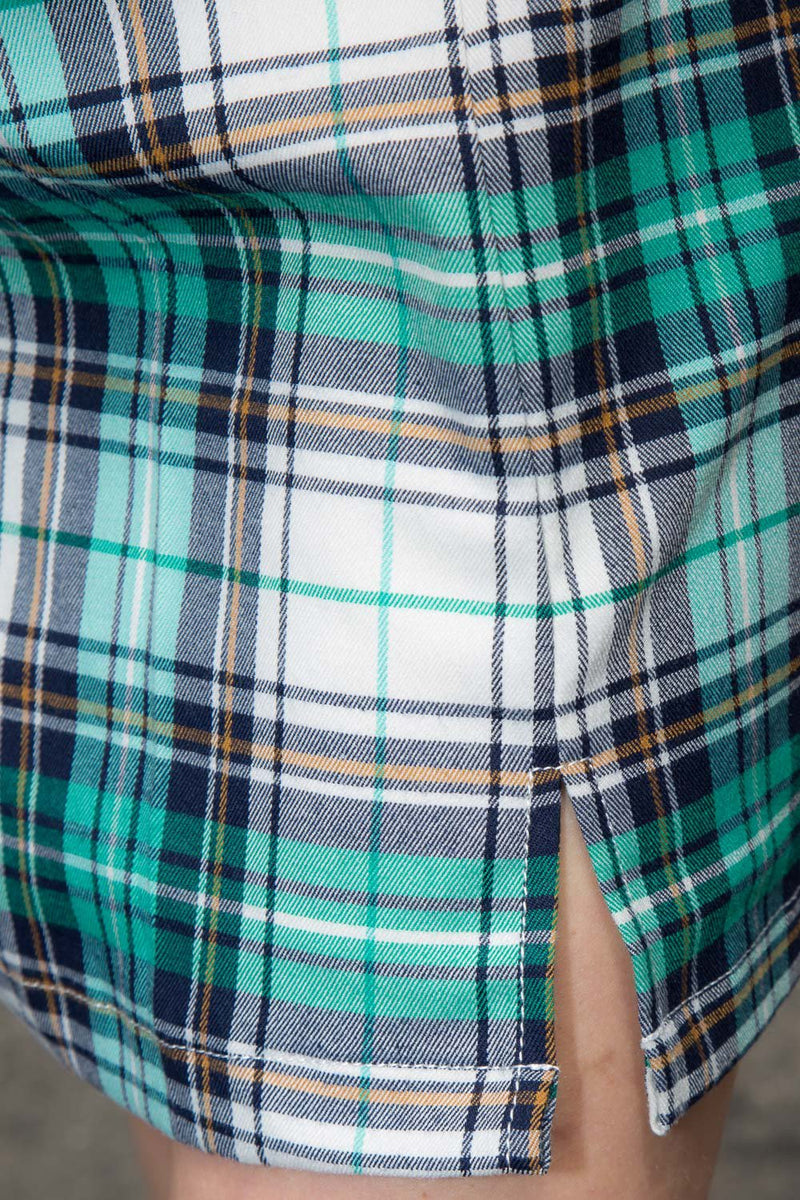 Teal Green and Blue Plaid / S