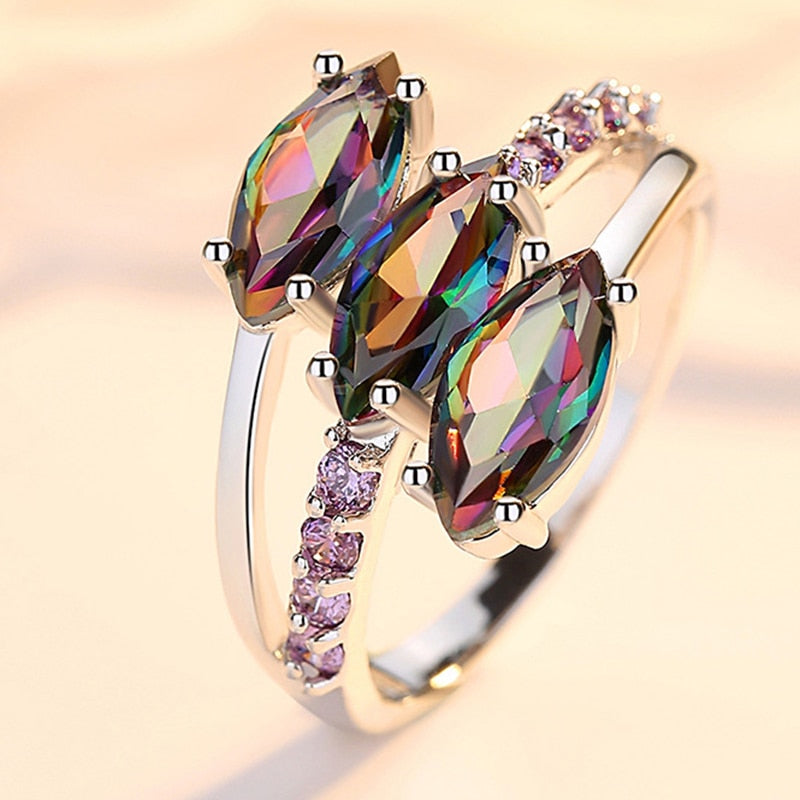 Three Multicolor Eye Ring