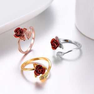 Blooming Red Rose Ring
