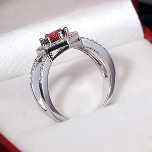 Six Prongs Red Ring
