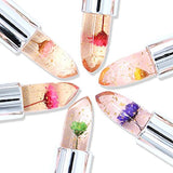 Pack of 6 Crystal Flower Jelly Lipstick, Long Lasting Nutritious Lip Balm Lips Moisturizer
