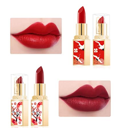 6 Colors China style Matte Lipstick Set, Long Lasting Moisturizing Non-Marking, Waterproof Non-Stick Cup Palace Style Rouge Lipstick