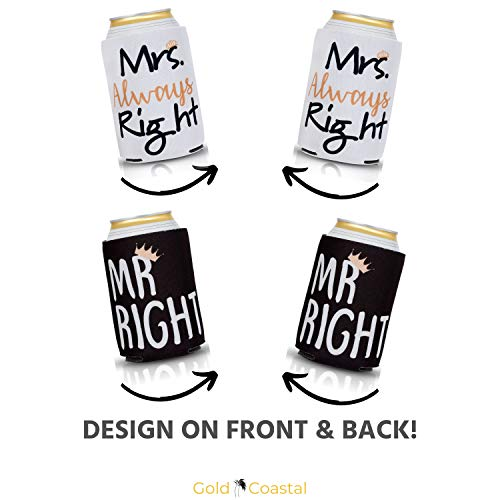 Mr Right and Mrs Always Right Can Coolers 2-Pack with Bonus Bottle Opener