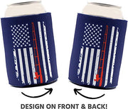 Fishing Pole American Flag Can Coolers 6-Pack