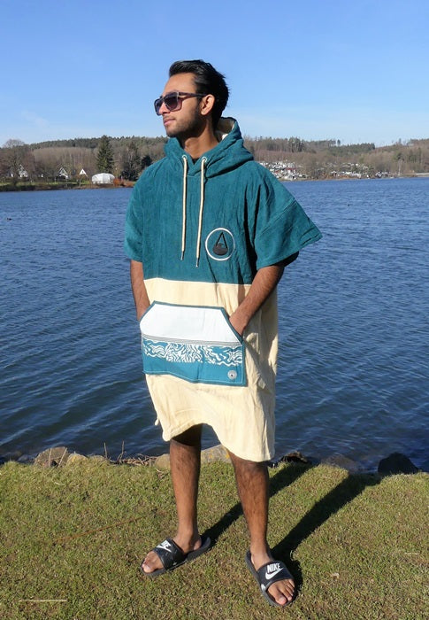 WAVE HAWAII Poncho Petrol, Velour