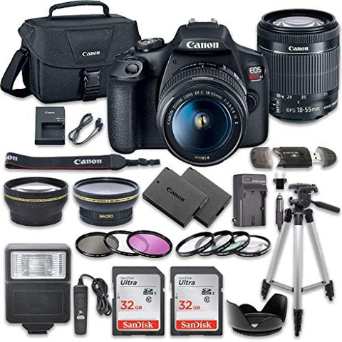 Canon EOS Rebel T7 DSLR Camera Bundle with Canon EF-S 18-55mm f/3.5-5.6 is II Lens + 2pc SanDisk 32GB Memory Cards + Accessory Kit