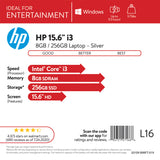 "HP 15.6"" i3 8GB/256GB Laptop-Silver"