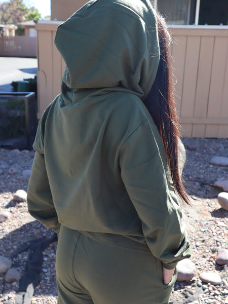 Active French Terry Hoodie Set Olive