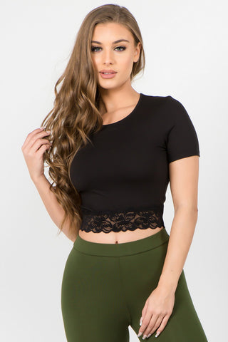 Floral Lace Trim Top