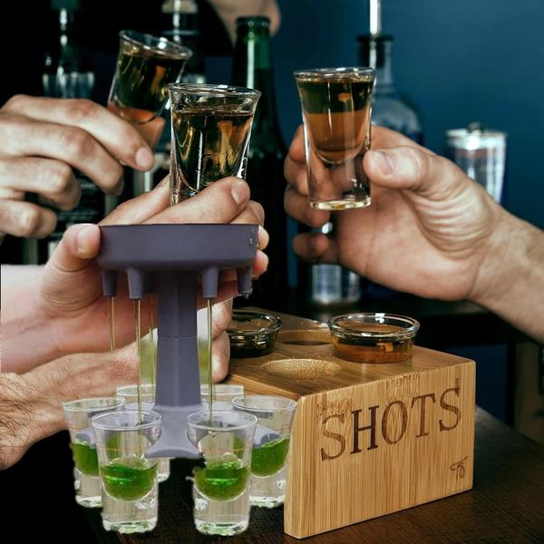 6 Shot Glass Dispenser Party Games Drinking Tools - Koalaidea