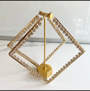 Very big Rhinestones triangle hoop