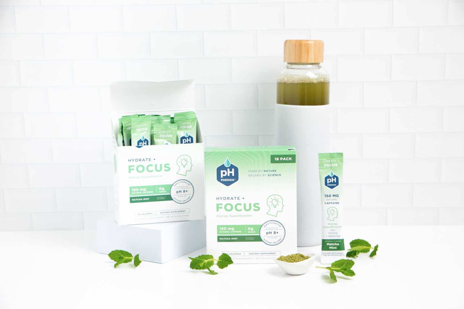Phenoh FOCUS For Energy Alkaline Drink Mix with Matcha