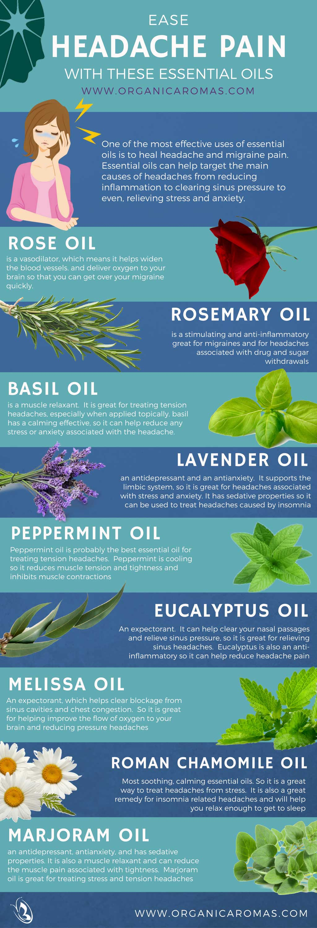 Ease Headaches with Essential Oils by Organic Aromas
