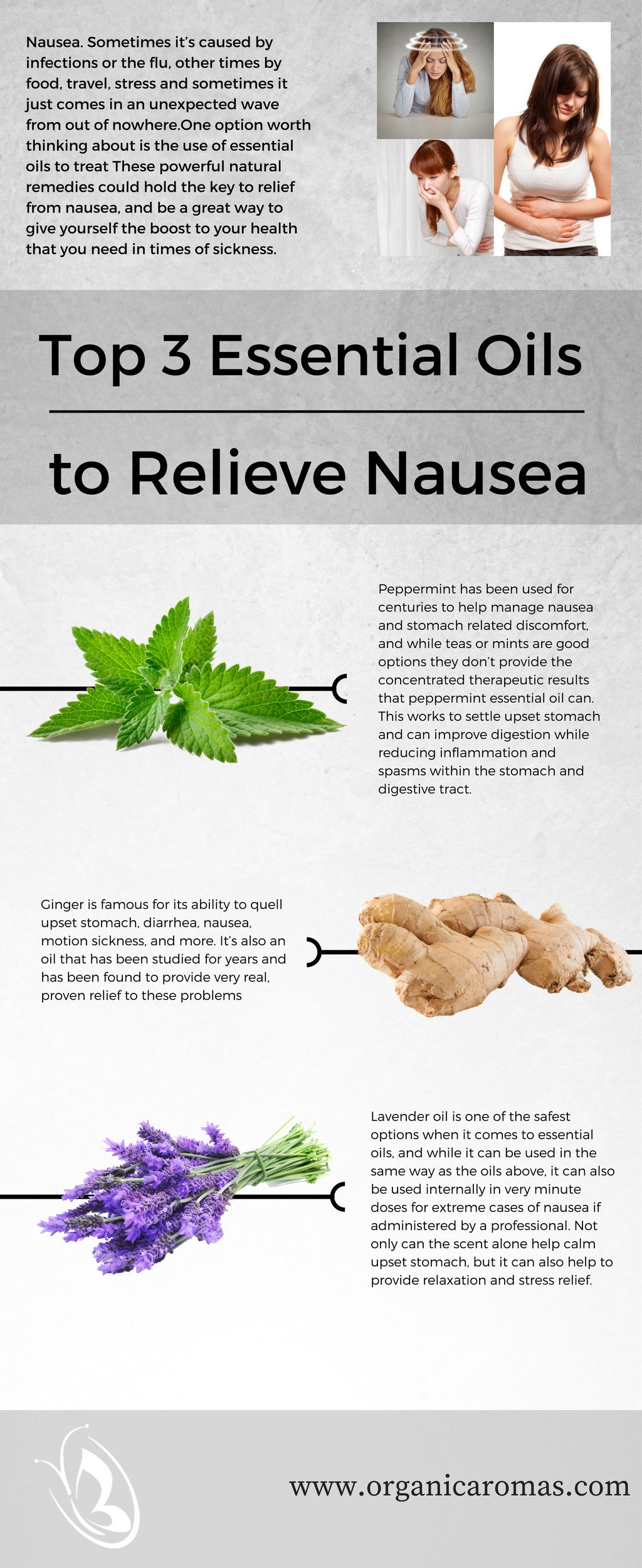 essential oils to help nausea infographic
