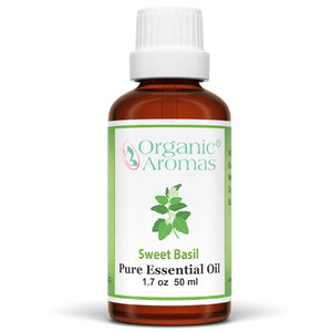 sweet basil pure essential oil by organic aromas 50ml
