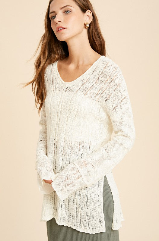 Textured Raw Edge Long Sweater