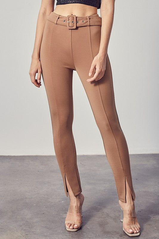 Tan Ankle Slit Trousers