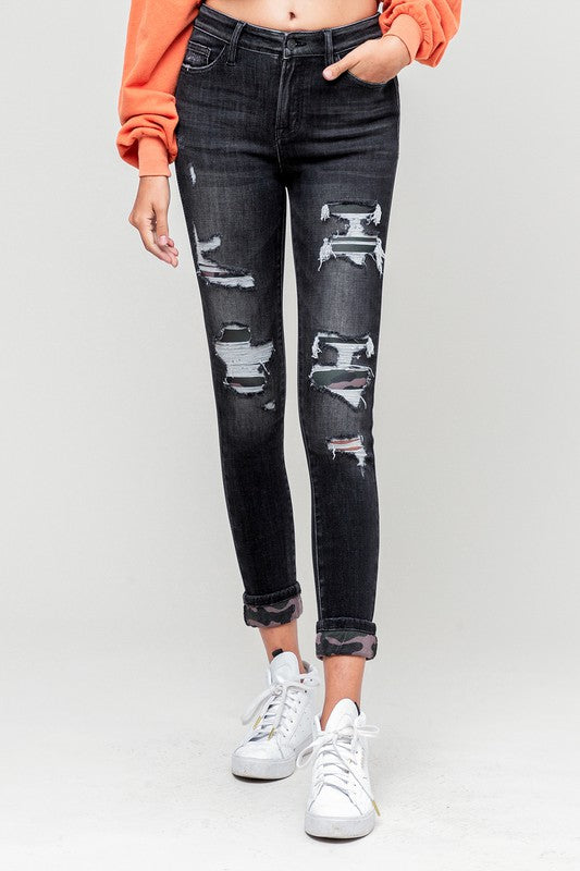 Camo Patched Skinny Jeans