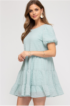 Load image into Gallery viewer, Textured Bubble Sleeve Dress