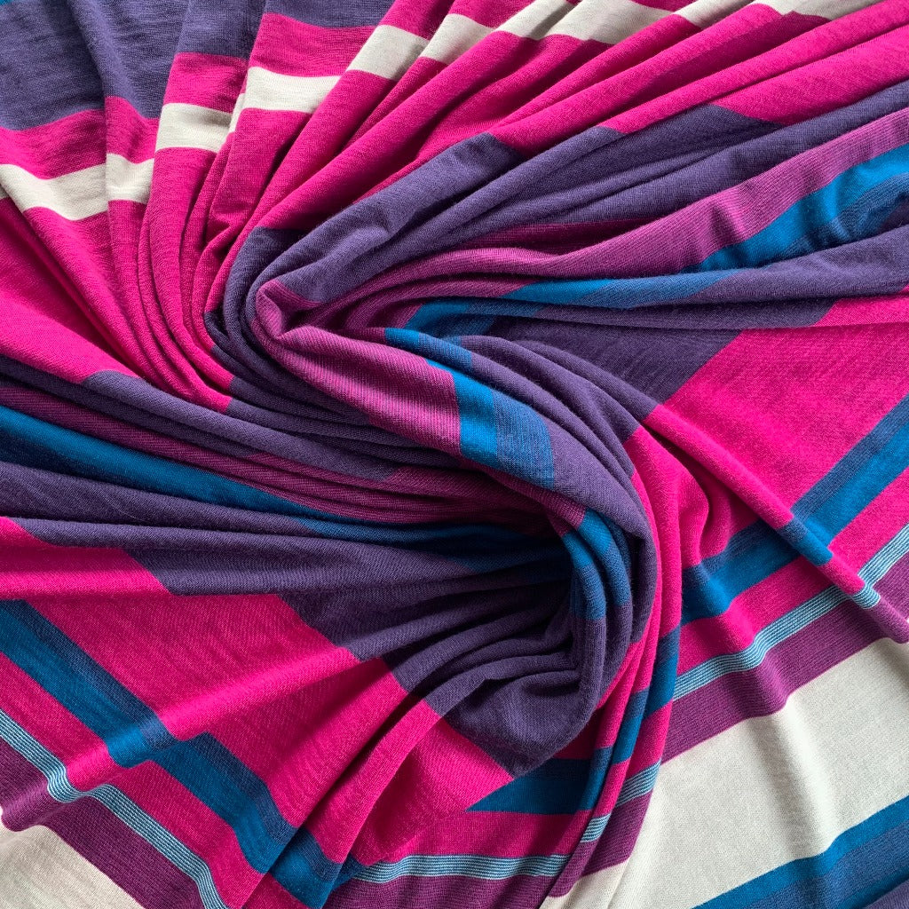 Engineered Stripe Merino - Hot Pink
