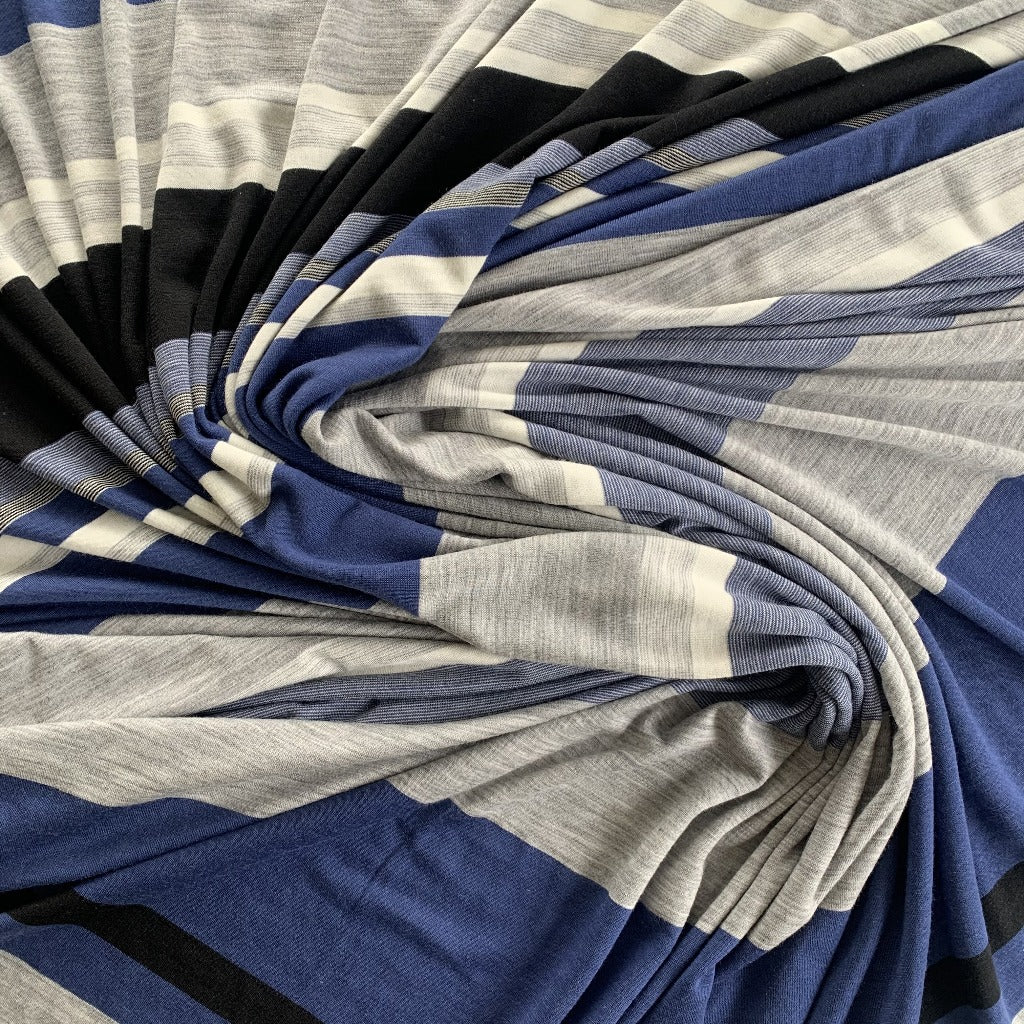 Engineered Stripe Merino - Blue