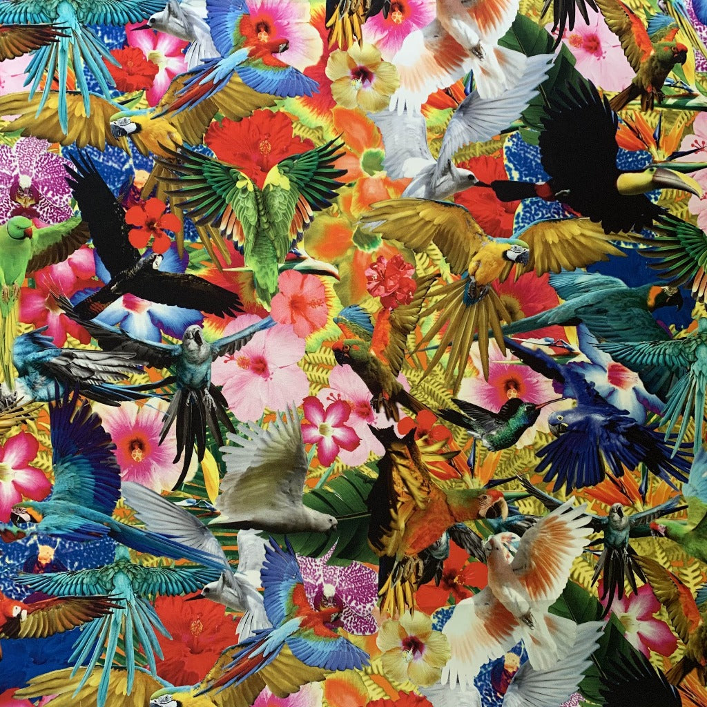 Exotic Birds Silk Crepe de Chine