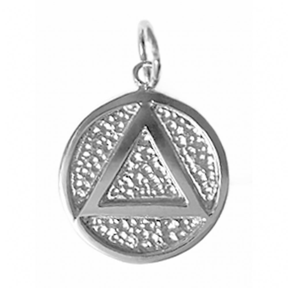 sterling silver, solid textured circle pendant, coin style with triangle
