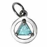 Load image into Gallery viewer, sterling silver, small size, available in 3 different 5mm triangle colored cz stones