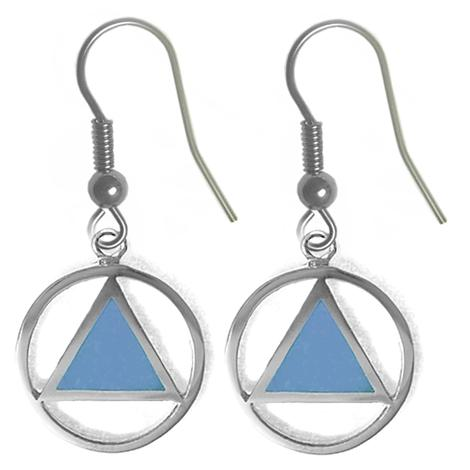 sterling silver, aa symbol earrings with turquoise blue enamel inlay