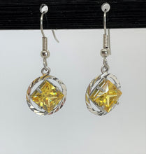 Load image into Gallery viewer, sterling silver, na symbol earrings with 4 different 8mm square colored cz stones