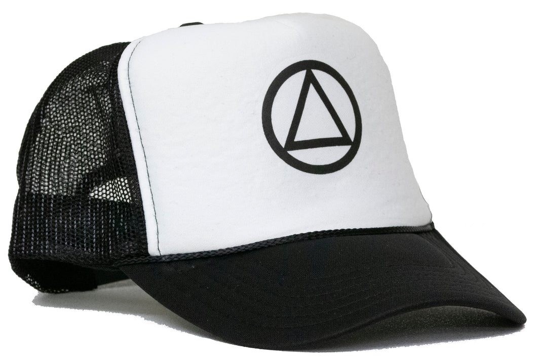 circle triangle trucker hat