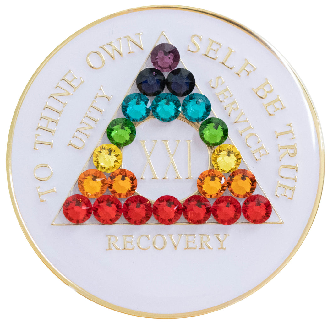 chakra bling crystallized white triplate medallion
